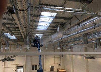 system nawilżania oczyszczania powietrza mgłą wodną montaż lakiernia klejenie