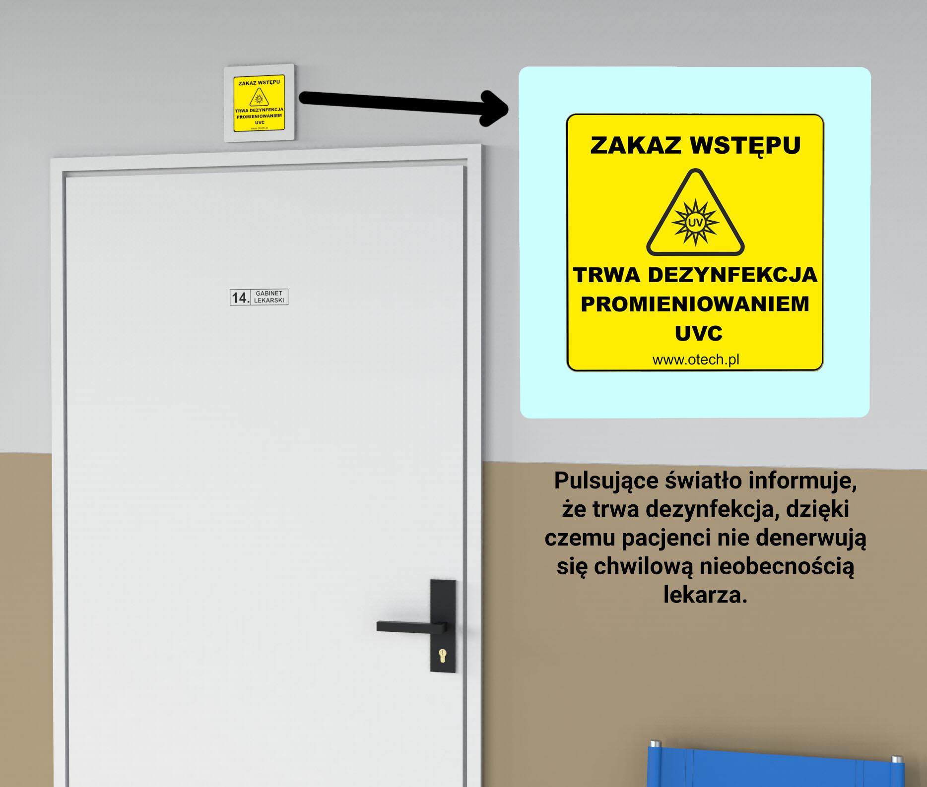 tabliczka ostrzegawcza UVC, gabinet lekarski, przychodnia, szpital, lampy bakteriobójcze, lampy covid, , ochrona koronawirus, dezynfekcja powierzchni, lampy uvc, sterylizator uv, lampa wirusobójcza, sterylizacja medyczna, lampy przepływowe