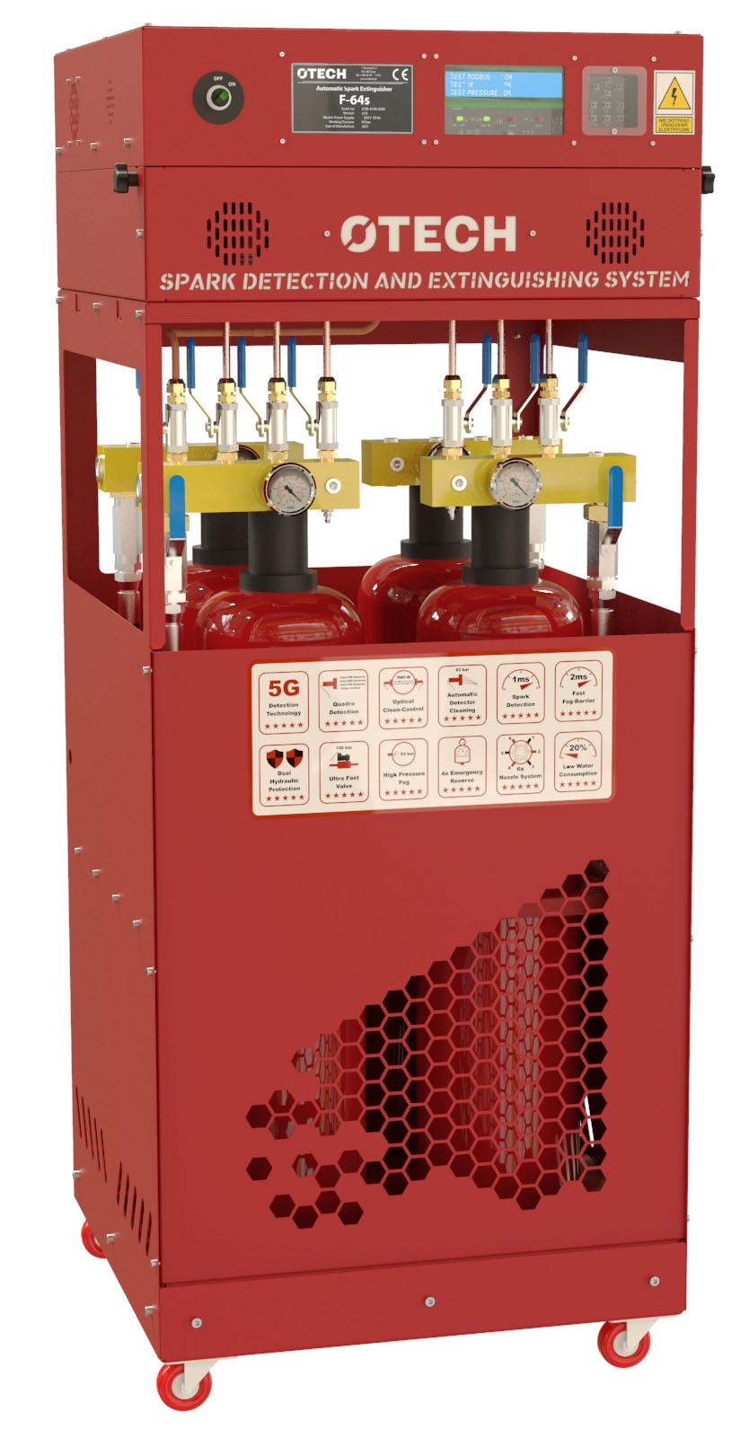 detekcja i wykrywanie iskier, detekcja wykrywanie gaszenie iskier, system detekcji, otech,, ochrona pożarowa, odciągi trocin, odciąg pyłów aluminium, filtry, silosy